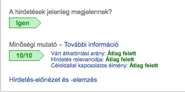 google adwords minőségi mutató
